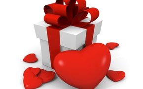Picture photo, Heart, Valentine's day, Bow, Holidays, Gifts, 3D Graphics