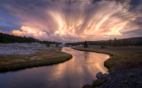 Picture field, the sky, landscape, river, the evening