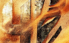 Picture sand, fiction, steel, robot, texture, logo, transformer, emblem, adventure, sci-fi, Michael Bay, 2014, Transformers 4, …