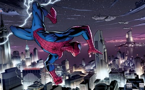 Picture city, lightning, new york, fly, spider man, daily bugle