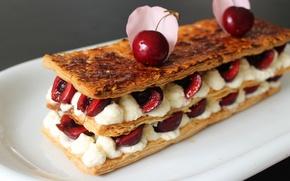 Picture cherry, cake, cream, dessert