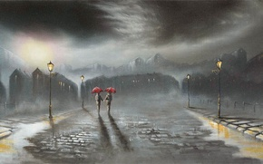 Picture road, the city, rain, lights, umbrellas, passers-by, Jeff Rowland, bad weather