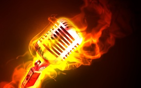 Picture fire, flame, microphone