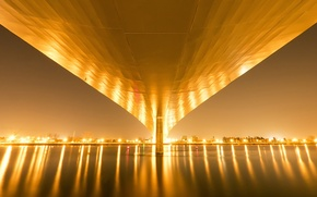 Wallpaper night, bridge, river