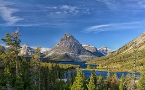 Picture the sky, trees, landscape, mountains, lake