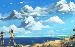 Picture sea, clouds, landscape, children, lake, kite