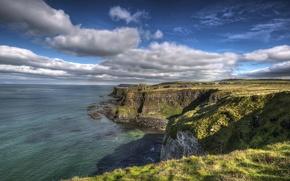 Picture rock, sky, coast, ireland, atlantic ocean, portrush
