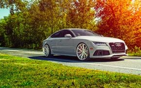 Picture Audi, Car, Front, Sun, Day, Sport, Summer, Vossen, Wheels, RS7, VFS1