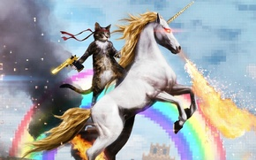 Picture cat, gun, rainbow, unicorn, Kote, Rambo, deagle