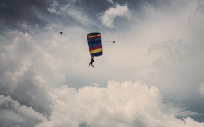 Picture the sky, clouds, skydivers, extreme sports, skydiving, parachuting