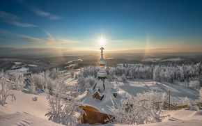Picture winter, frost, the sun, snow, lights, sunrise, beauty, cross, dal, space, Church, Christmas, miracle, religion, …