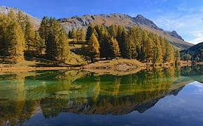 Picture autumn, the sky, clouds, trees, mountains, lake, reflection