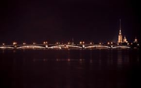 Picture night, bridge, wall, dark, Peter, lights, lights, channel, fortress, spire, Neva, dobraatebe