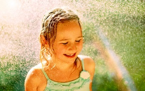 Picture water, drops, mood, rainbow, girl