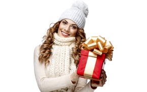 Wallpaper holiday, gift, brown hair, smile, hat, curls, white background, beautiful, mood, in white, new year, ...