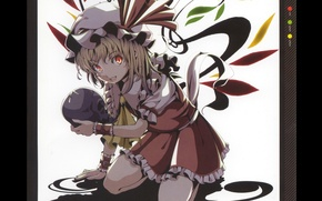 Picture skull, crystals, red eyes, cap, touhou, art, ruffles, Touhou Project, Flandre Scarlet, Project East, Akaringo