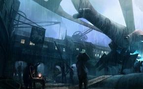 Picture Rain, spaceship, spaceship, factory, street