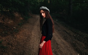 Picture forest, look, girl, sweetheart, model, skirt, portrait, track, light, hat, the beauty, jacket, nature, young, …