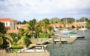 Picture the city, home, yachts, piers, Caribbean