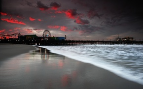 Picture sea, beach, the evening, pier, pierce