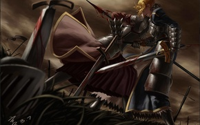 Picture girl, weapons, blood, sword, anime, warrior, art, armor, spear, saber, fate stay night, mordred, feitie, …