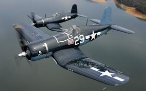 Wallpaper the ocean, Corsair, aircraft