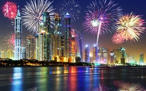 Picture night, lights, holiday, new year, skyscrapers, salute, Dubai, promenade, UAE