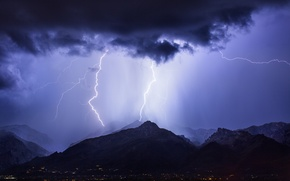 Wallpaper the storm, the sky, mountains, night, clouds, the city, zipper, lighting, AZ, USA, blue, Tucson