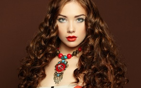 Picture look, girl, decoration, background, hair, makeup, dress, lipstick, curls