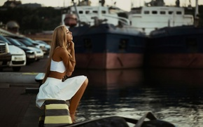 Picture girl, pier, Odessa, natural light, Xenia