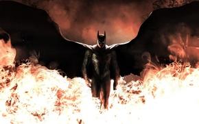 Picture fire, batman, wings, art, costume, dark knight