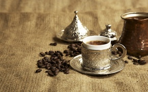 Picture coffee, dishes, drink, Turkish coffee