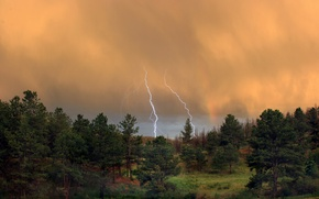Wallpaper Lightning, Forest, Clouds