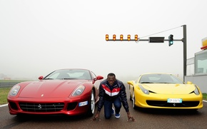 Picture yellow, red, background, Ferrari, athlete, Ferrari, male, Fiorano, 458, start, GTB, 599, runner, the front, …