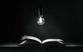 Picture light bulb, book