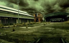 Picture the darkness, hangar, garages