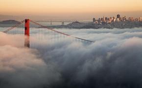 Picture clouds, bridge, the city, fog, USA, Golden Gate Bridge, San Francisco