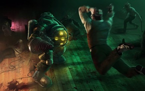 Picture jump, blood, attack, Bioshock, big daddy, sister, splicers