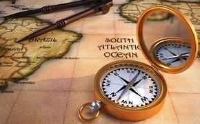 Picture style, retro, Wallpaper, map, compass, the compass