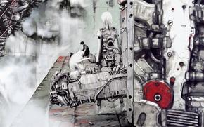 Picture girl, guy, cyberpunk, art, Blame!, manga
