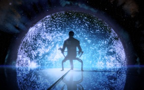 Wallpaper space, star, people, chair, mass effect, illusive man