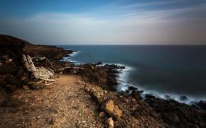 Picture sea, landscape, shore, chairs