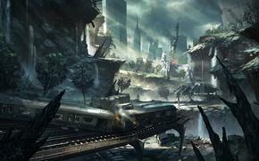 Wallpaper art, train, cars, rails, the city, ruins, the crysis 2