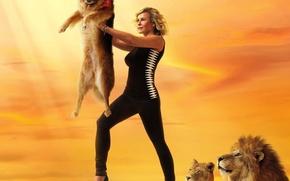 Picture sunshine, sky, nature, dog, lion, women, animal, blonde, lioness, wildlife, scarf, show, strap, sandal, Lion …