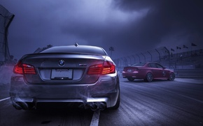 Picture red, clouds, red, BMW, e60, f10, back, exhaust pipe, smoke, the sky, silver, BMW, silvery