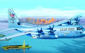 Picture art, airplane, painting, C-130J Hercules