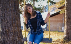 Picture Girl, Model, Tree, Female, Wallpaper, Spring, Eyes, Background, Jeans, Dress, Human, Look, People, Teen, Hairs, …