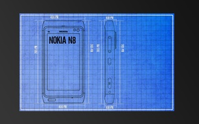 Wallpaper drawing, Nokia, labels, grey background
