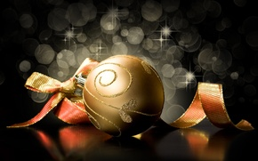 Picture background, black, toys, ball, New Year, Christmas, tape, the scenery, gold, bow, Christmas, holidays, New …