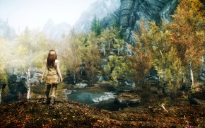 Picture girl, Nature, Mountains, The game, Rocks, Trees, Pond, Skyrim
